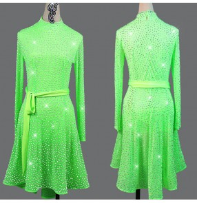 Women's neon green rhinestones competition latin dance dress salsa rumba stage performance dress